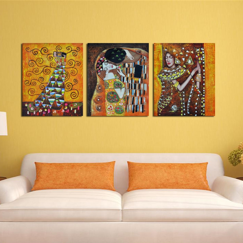 Bedroom Famous Artist Art Deco Kiss Abstract Cheap Modern Canvas Inside Newest Cheap Abstract Wall Art (View 1 of 15)