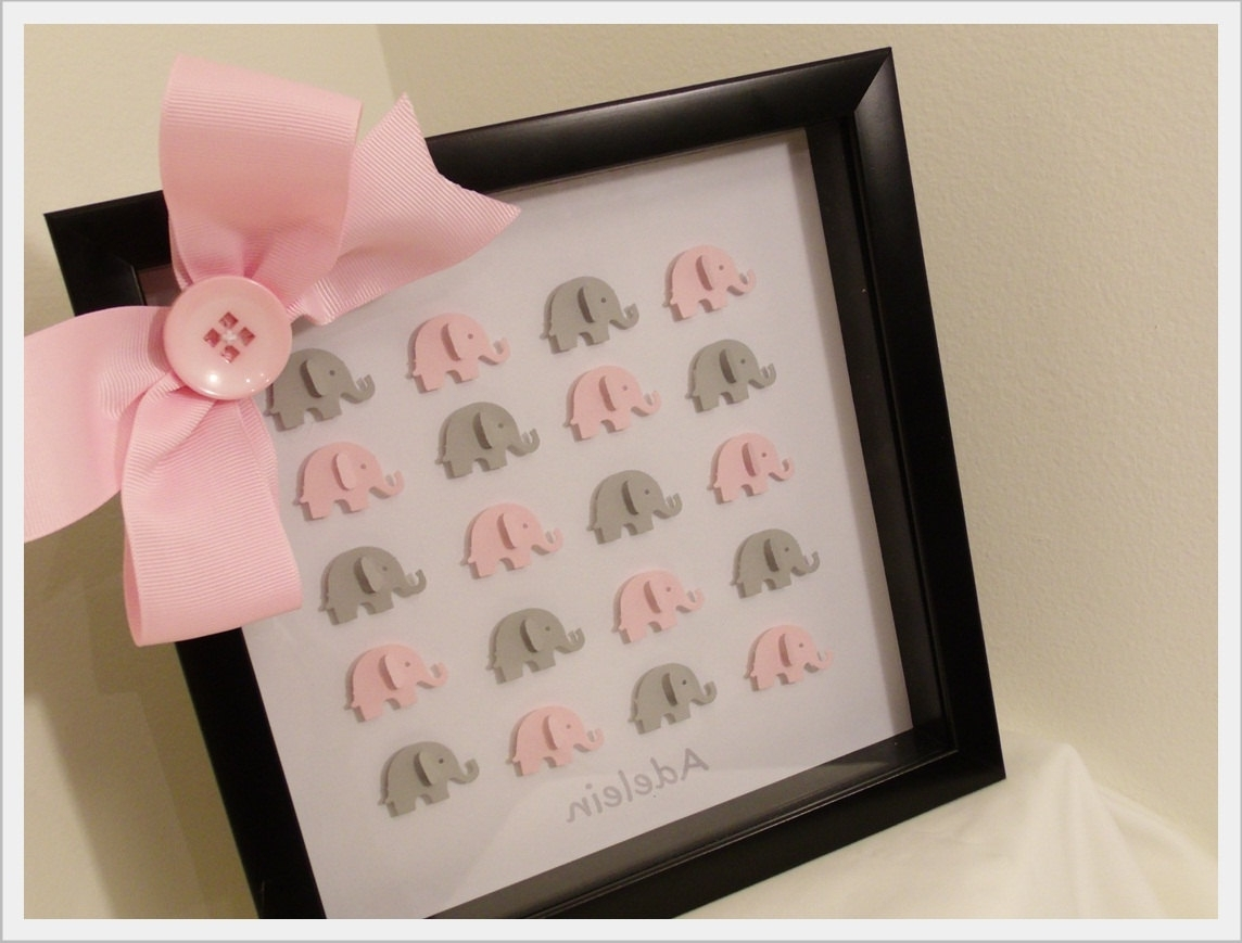 Best And Newest 3D Elephant Art In Framed Shadow Box — Custom Baby Girl Room Within Baby Nursery 3D Wall Art (View 9 of 15)