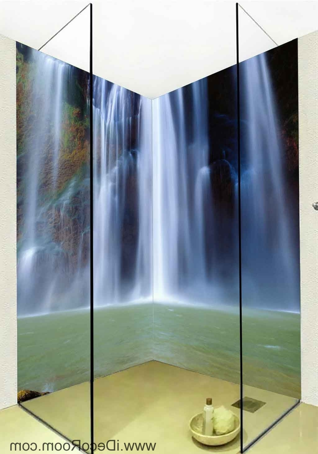 Best And Newest 3D Wallpaper Long Waterfall Water Wall Murals Bathroom Decals Wall Within 3D Wall Art For Bathroom (View 6 of 15)