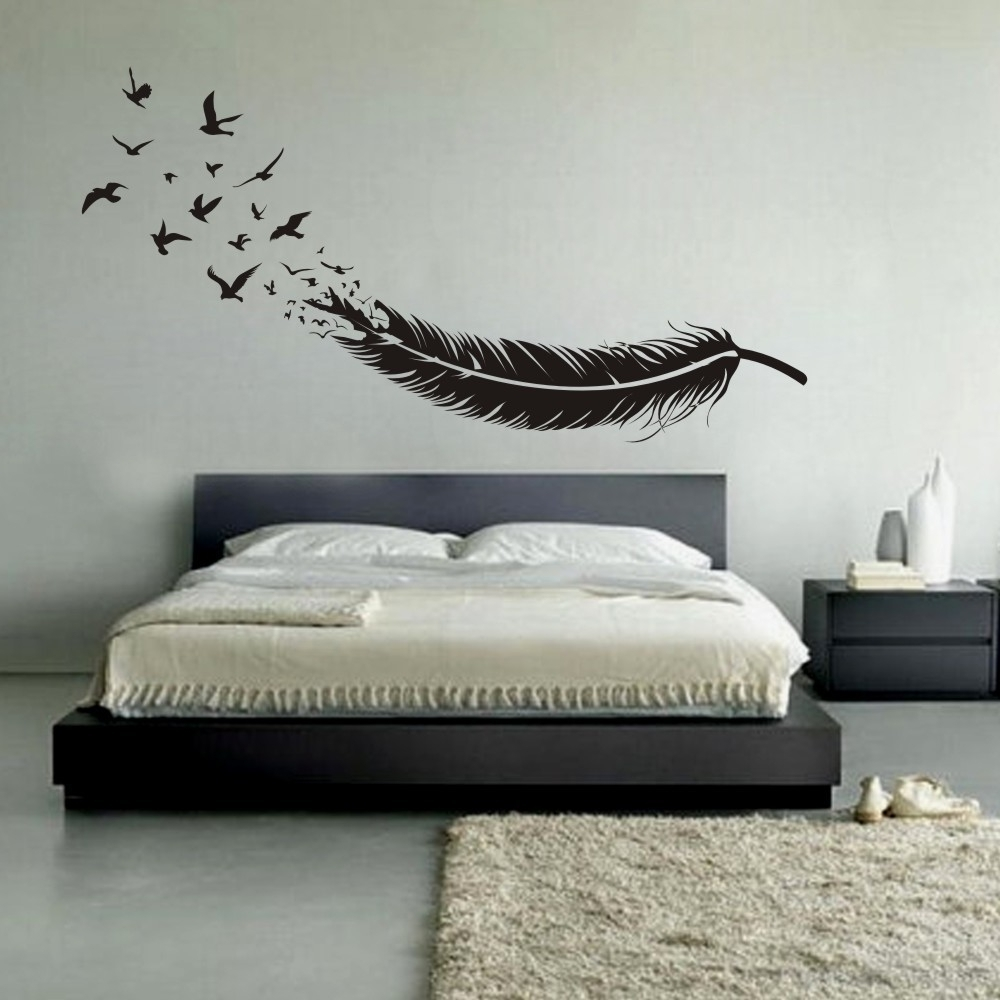 Best And Newest Abstract Art Wall Decal In Abstract Feather Into Birds Vinyl Wall Decal Custom Your Color (View 9 of 15)