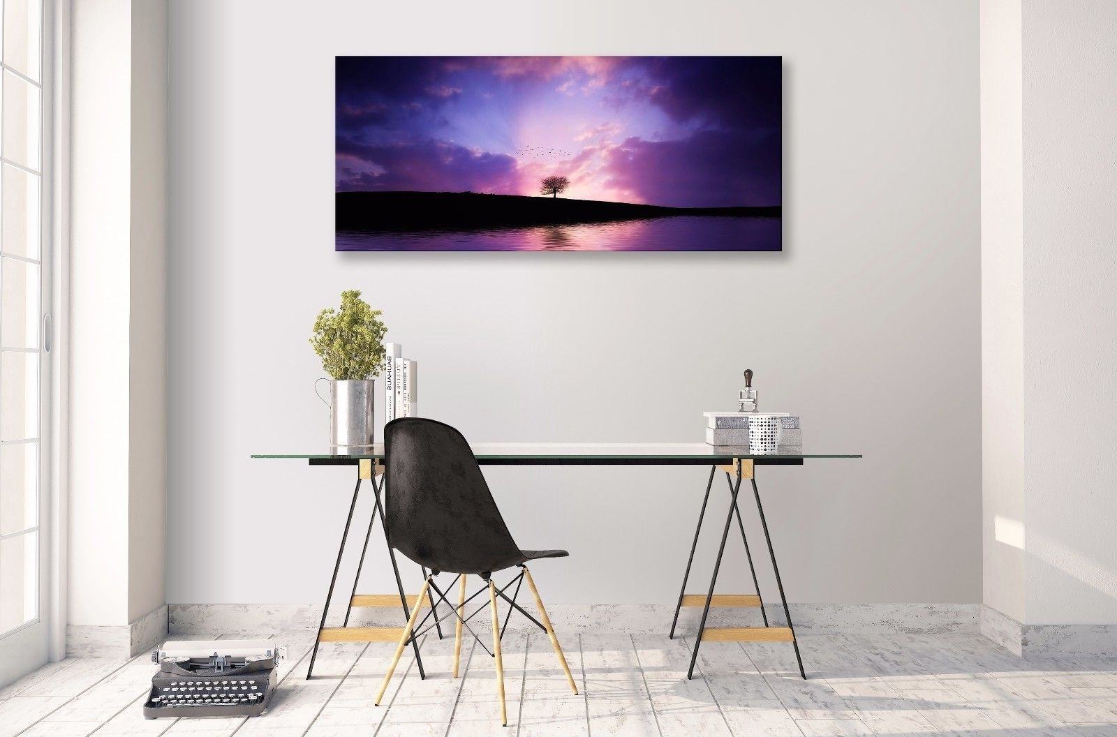 Best And Newest Abstract Horizon Wall Art Pertaining To Landscape Abstract Purple Horizon Lake Tree Panorama Canvas Wall (View 12 of 15)