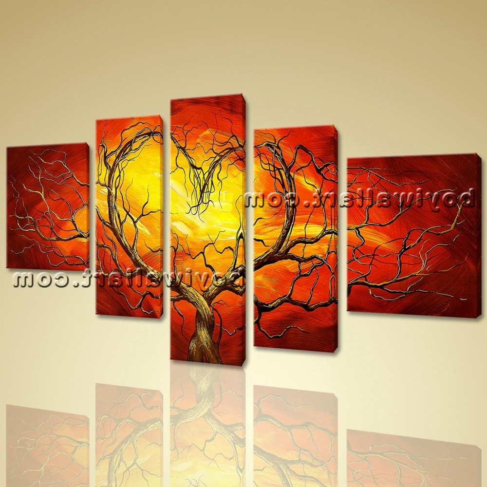 Best And Newest Abstract Orange Wall Art With Huge Canvas Giclee Print Modern Abstract Love Tree 5 Panels Framed (View 10 of 15)