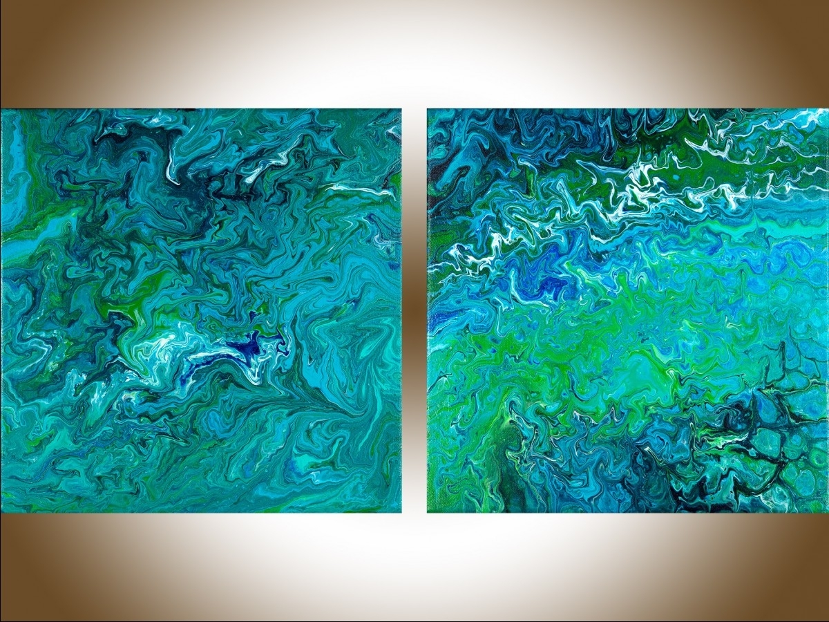 Best And Newest Abstract Wall Art Wall Paintings Acrylic Oil Painting For Sale Intended For Blue And Green Wall Art (View 3 of 15)