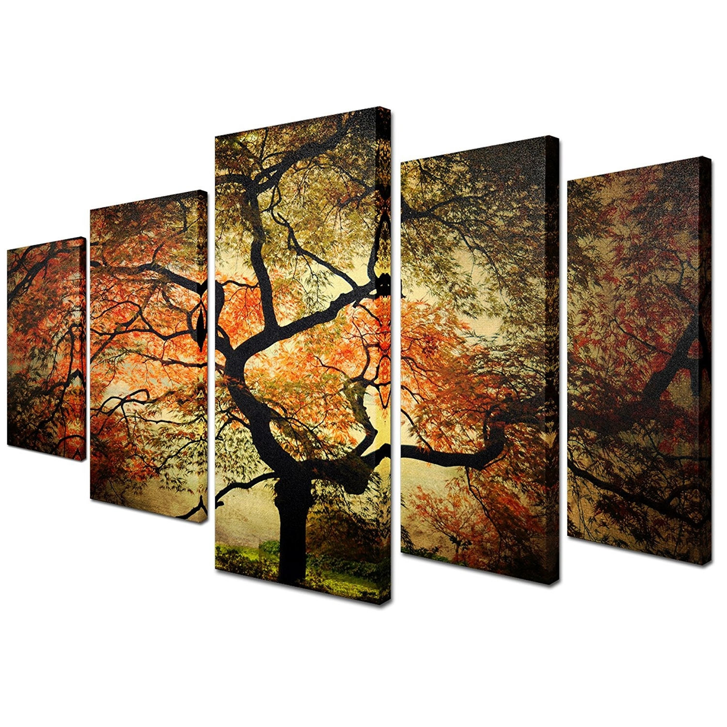 "Best And Newest Amazon: Trademark Fine Art ""japanese"" Multi Panel Art Set Pertaining To Multiple Canvas Wall Art (View 3 of 15)"