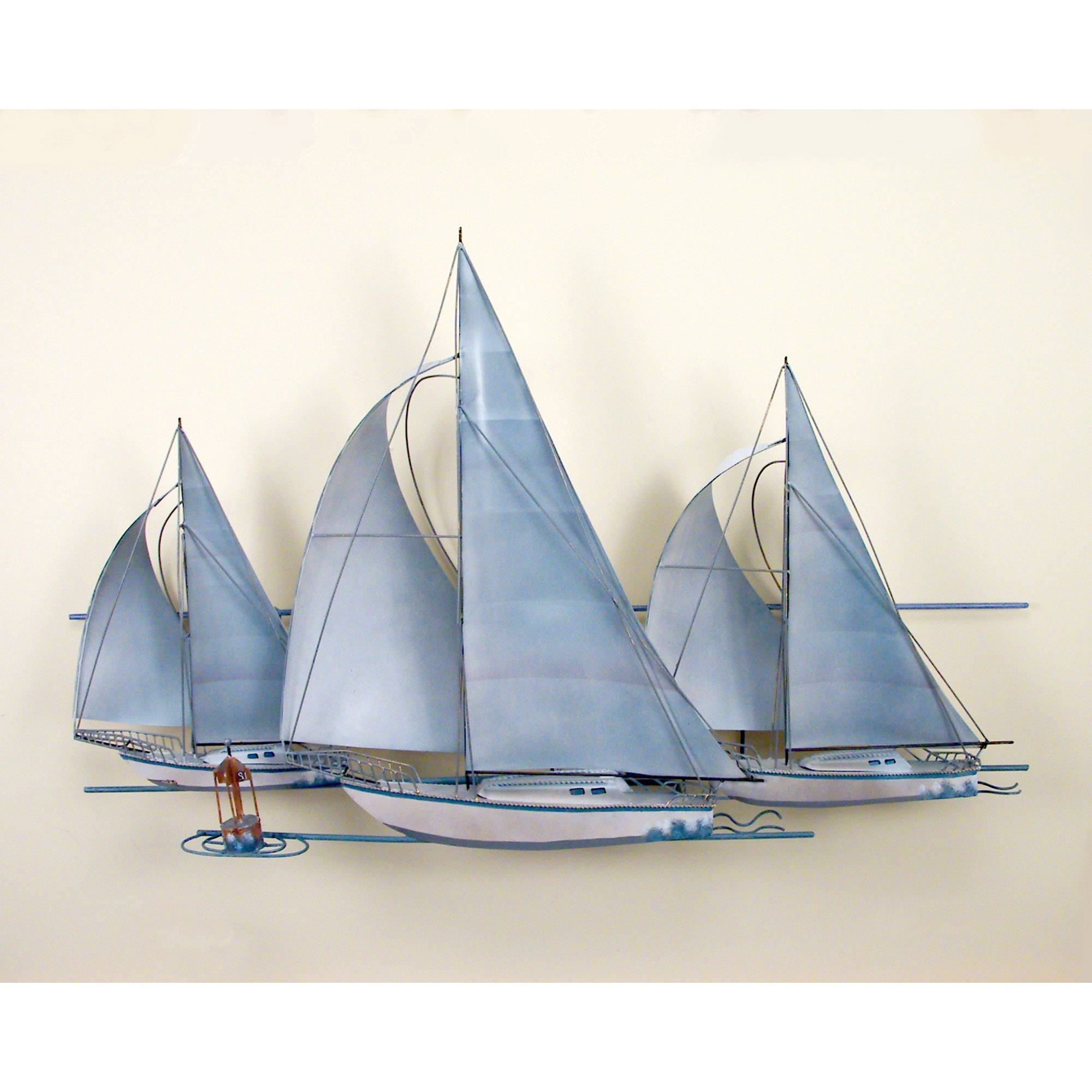 Best And Newest At The Races,three Sail Boats, Race, Wall Art, Wall Hanging Inside Sailboat Metal Wall Art (View 4 of 15)