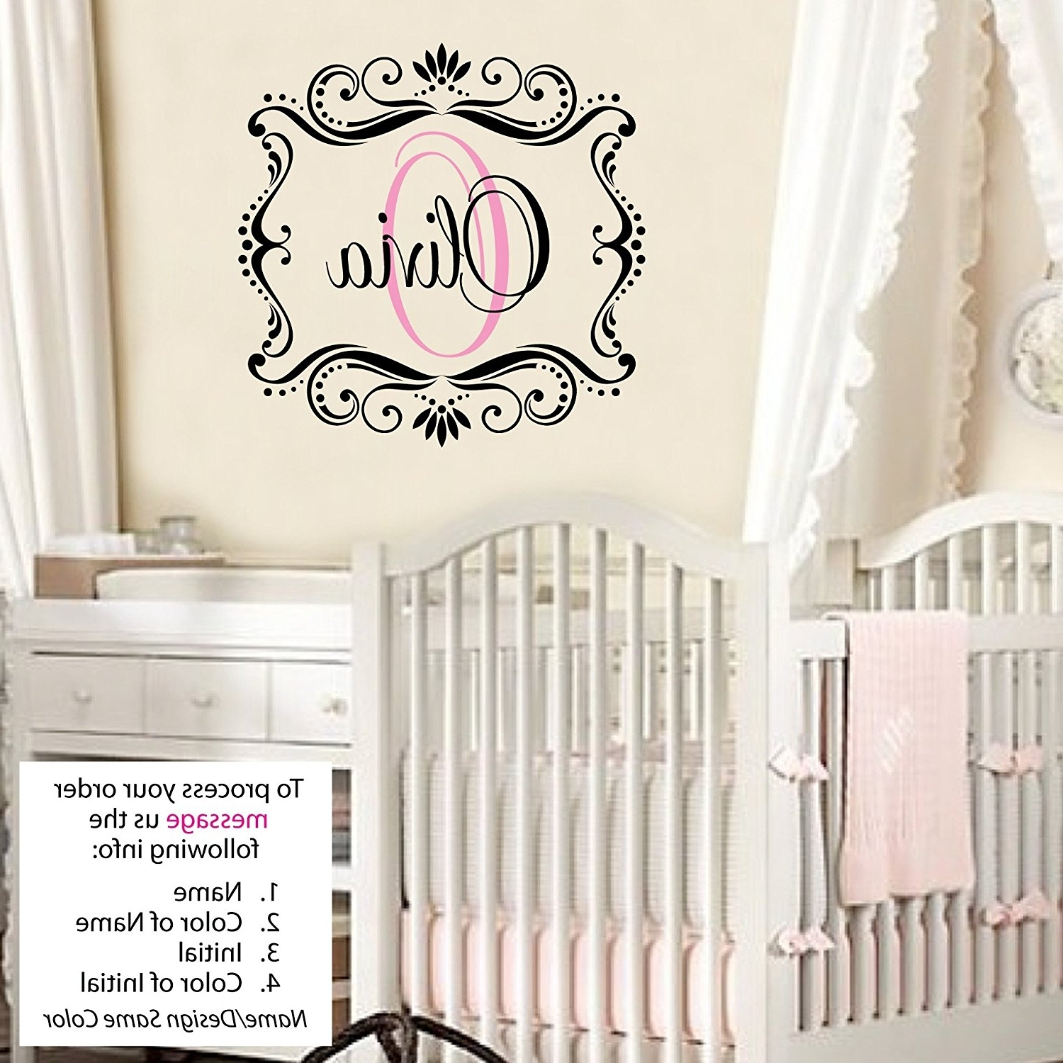Best And Newest Baby Name Wall Art In Olivia Wall Decal Childrens Personalized Name – Childrens Wall Art (View 12 of 15)