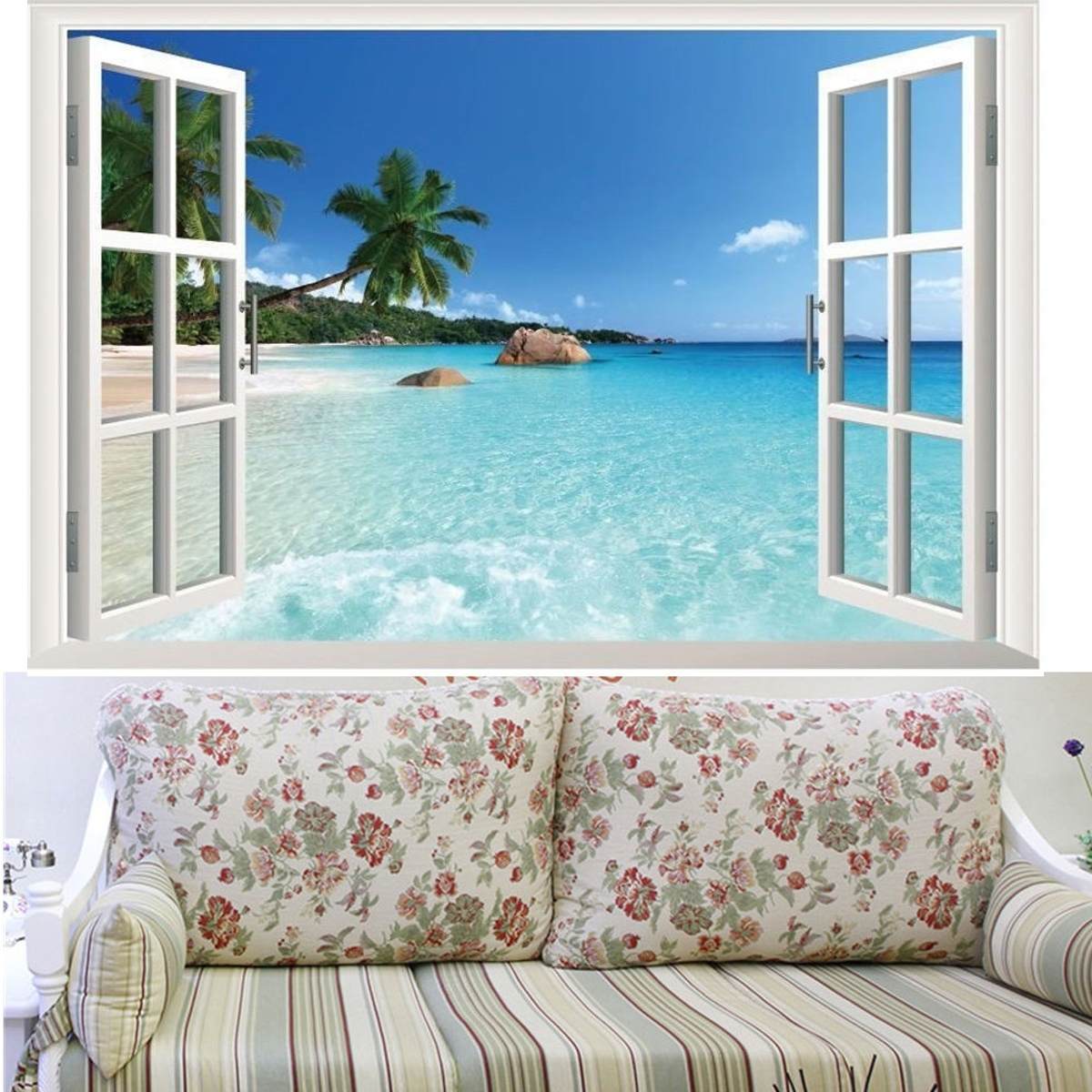 Best And Newest Beach Window View Scenery 3d Wall Stickers Vinyl Art Mural Decal For Beach 3d Wall Art (View 10 of 15)