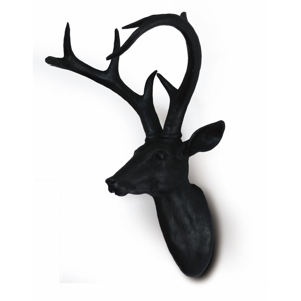 Best And Newest Black Wall Mounted Deer Stag Head Wall Art Hanging Decoration Within Stags Head Wall Art (View 6 of 15)
