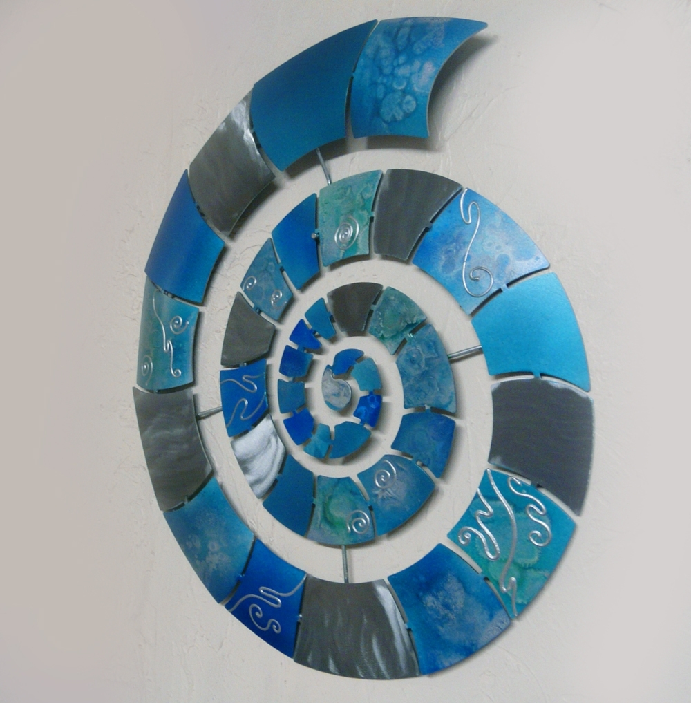 Best And Newest Blue Wall Art Intended For Metal Wall Art Ammonite Silver And Blue – The Sculpture Room (View 2 of 15)