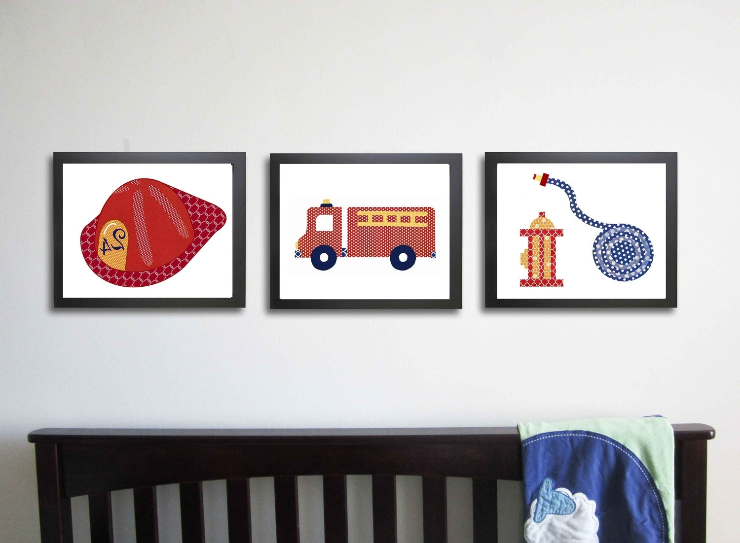 Best And Newest Boys Bedroom: Astounding Picture Of Red Kid Fire Truck Bedroom With Fire Truck Wall Art (View 5 of 15)