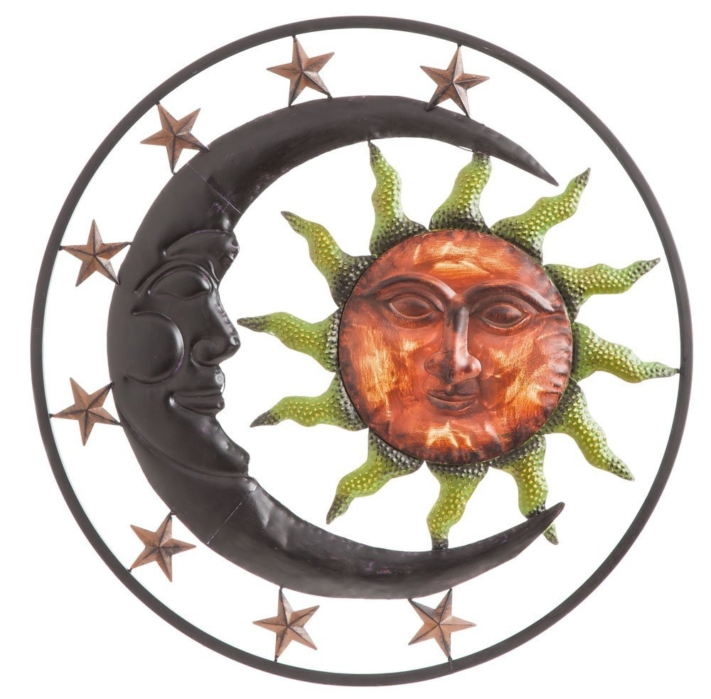 Best And Newest Celestial Sunburst Metal Wall Art: Sun, Moon And Stars Inside Sun And Moon Metal Wall Art (View 1 of 15)