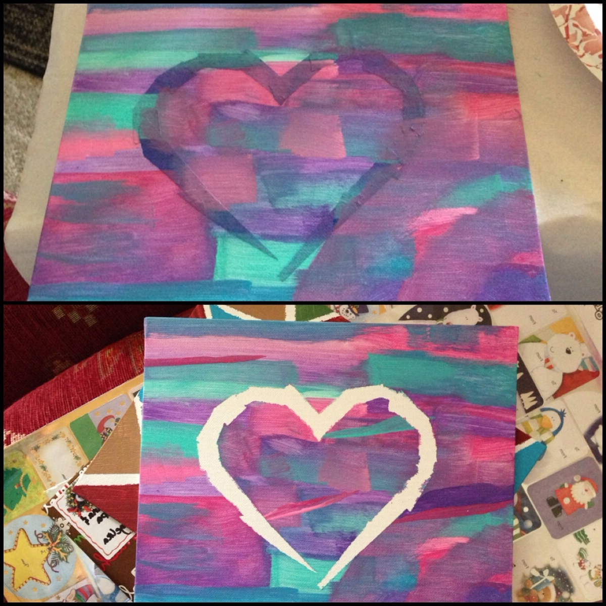 Best And Newest Diy Pinterest Canvas Art Intended For Diy Canvas Art. Painters Tape, Paint, And Sponge Brushes (View 2 of 15)