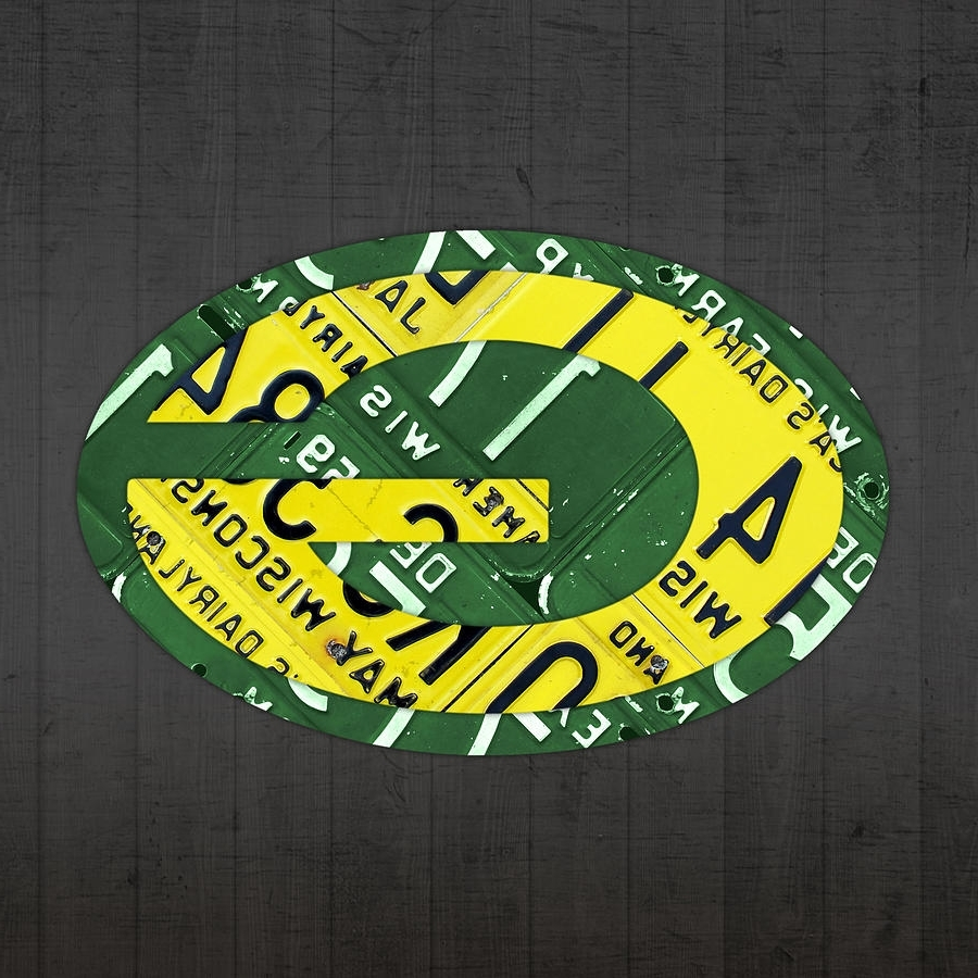Best And Newest Green Bay Packers Football Team Retro Logo Wisconsin License Plate Throughout Green Bay Packers Wall Art (View 9 of 15)