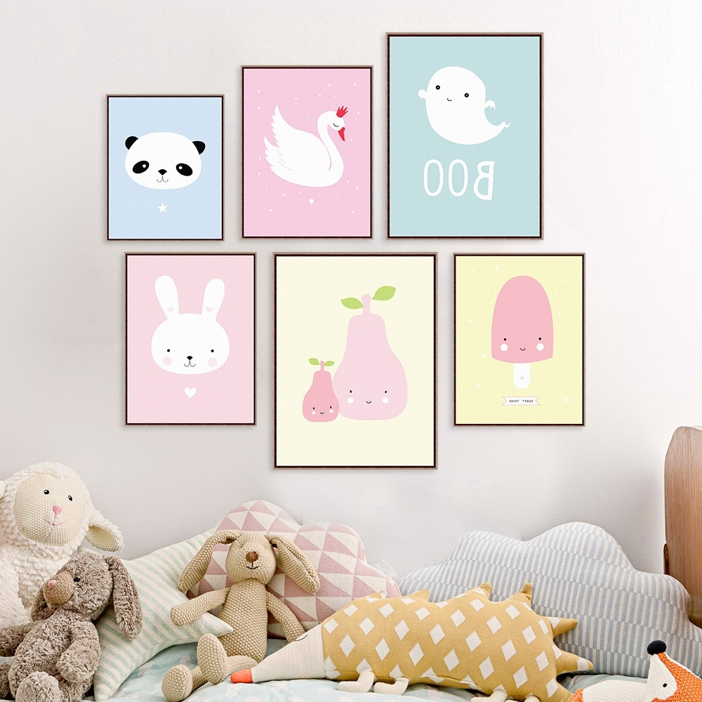Best And Newest Kawaii Animal Panda Poster Print A4 Modern Nordic Cartoon Nursery With Regard To Nursery Framed Wall Art (View 2 of 15)