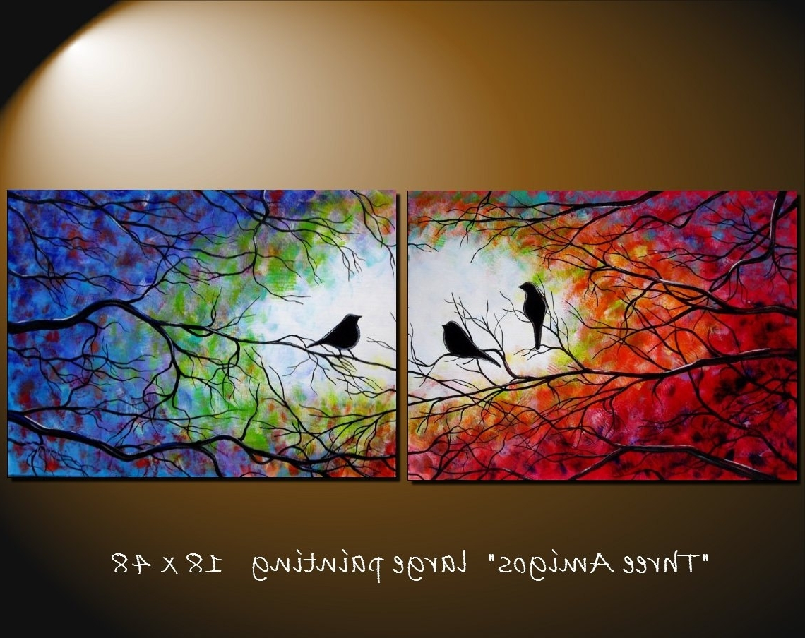 Best And Newest Large Abstract Bird Tree Painting Contemporary Modern Silhouette Within Abstract Bird Wall Art (Gallery 13 of 15)