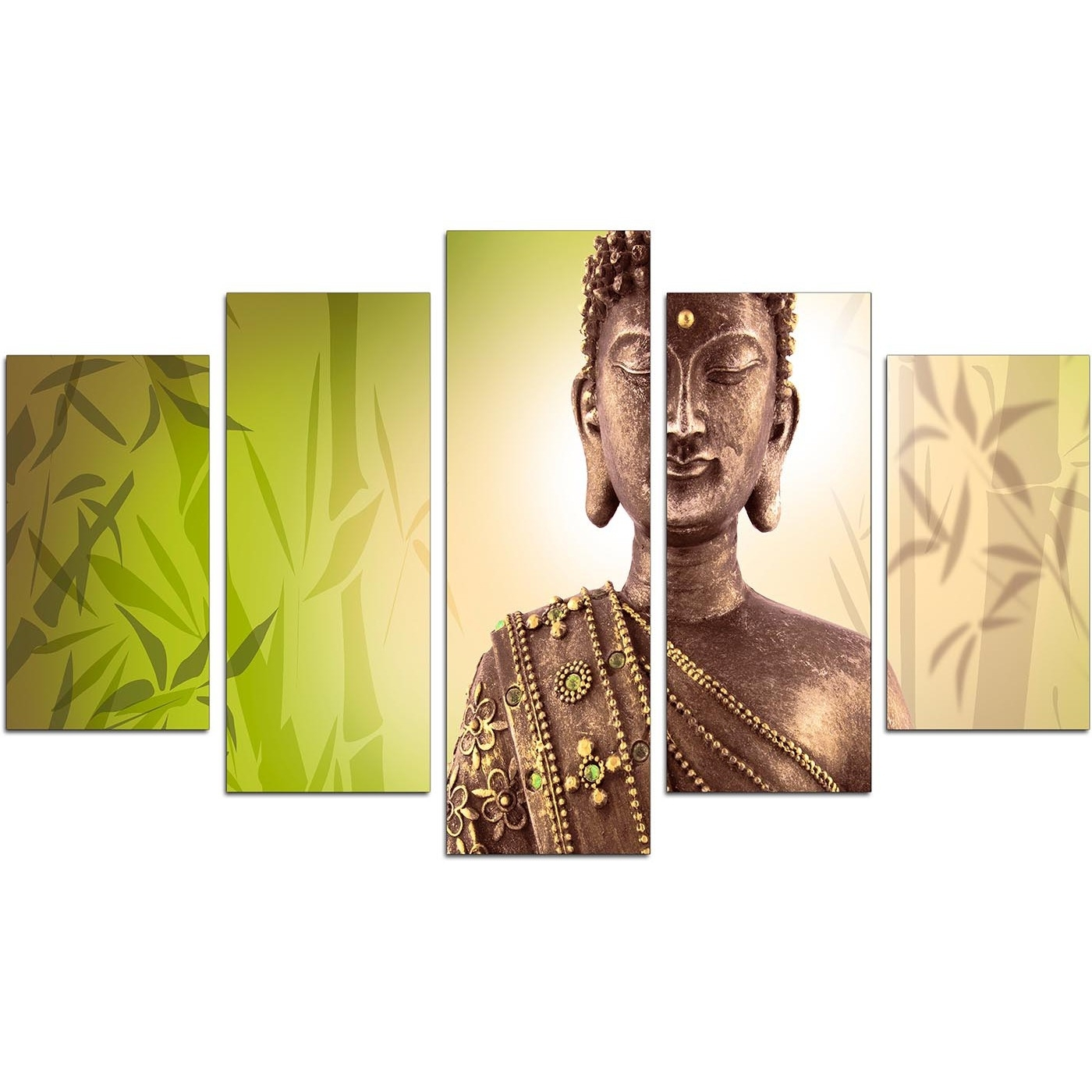 Best And Newest Large Buddha Wall Art In Extra Large Buddha Canvas Wall Art 5 Piece In Green (View 2 of 15)