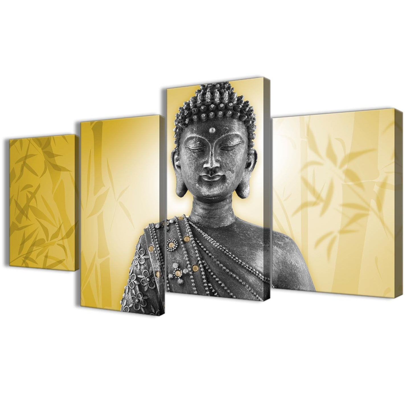 Best And Newest Large Mustard Yellow And Grey Silver Canvas Art Print Of Buddha Inside Silver Buddha Wall Art (View 1 of 15)