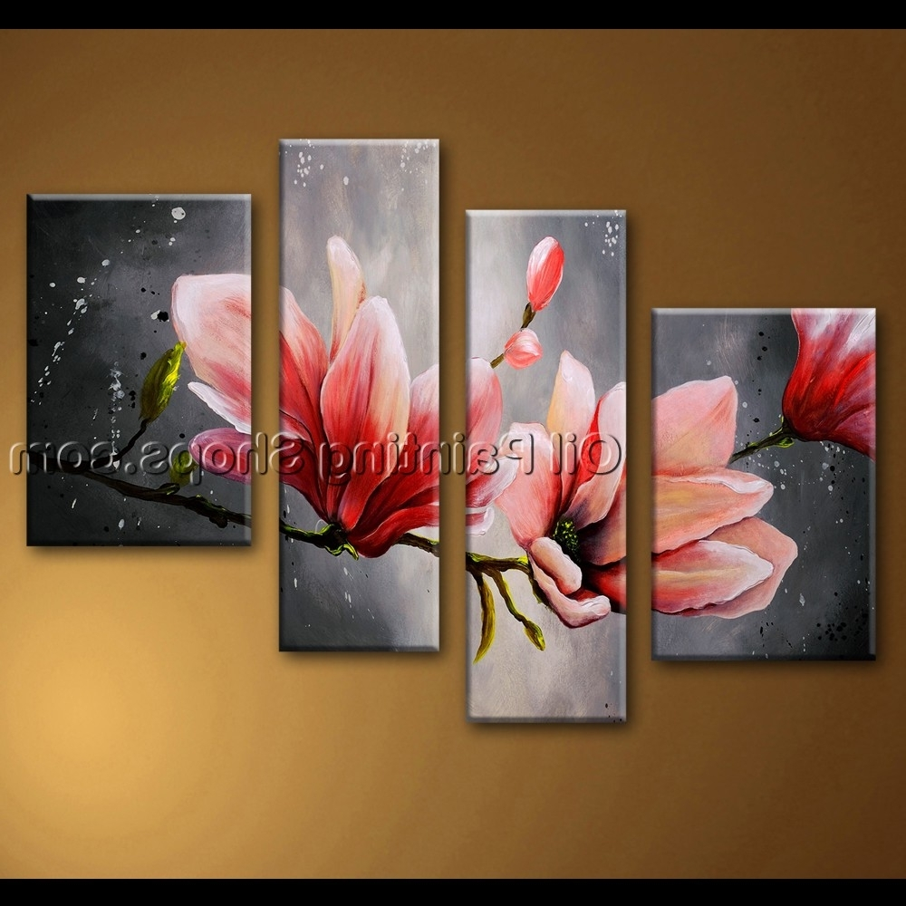 Best And Newest Large Wall Art Abstract Floral Oil Painting On Canvas Tulip With Abstract Floral Canvas Wall Art (View 5 of 15)