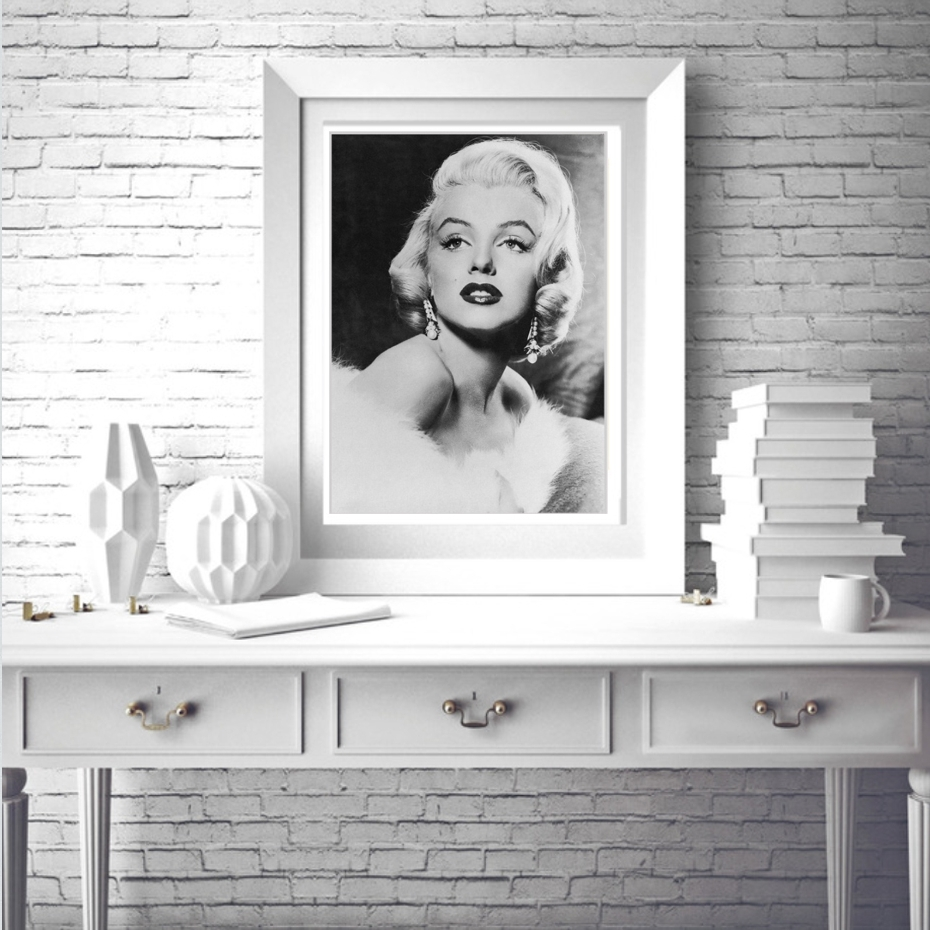 Best And Newest Marilyn Monroe Black And White Wall Art With Regard To Vintage Marilyn Monroe Canvas Painting Movie Posters Black White (View 10 of 15)
