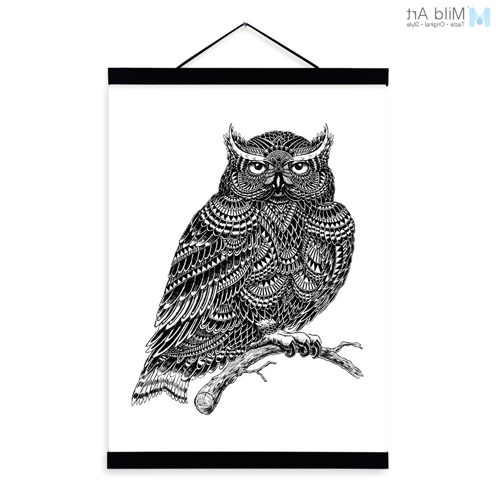 Best And Newest Modern Owl Black White Animals Bird Head Portrait Totem A4 Wooden Intended For Owl Framed Wall Art (View 4 of 15)