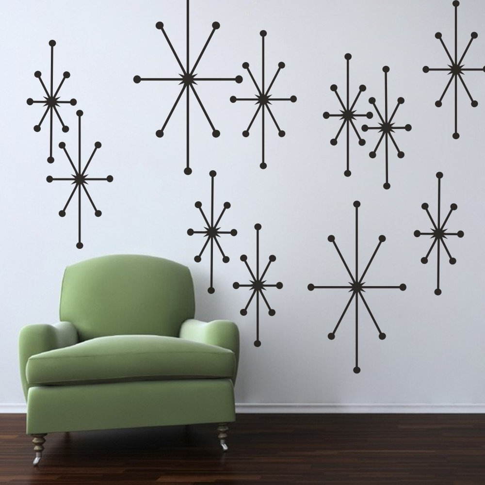 Best And Newest Modern Vinyl Wall Art Throughout Amazon: Mairgwall Vinyl Atomic Starbursts Wall Decal Mid (View 2 of 15)