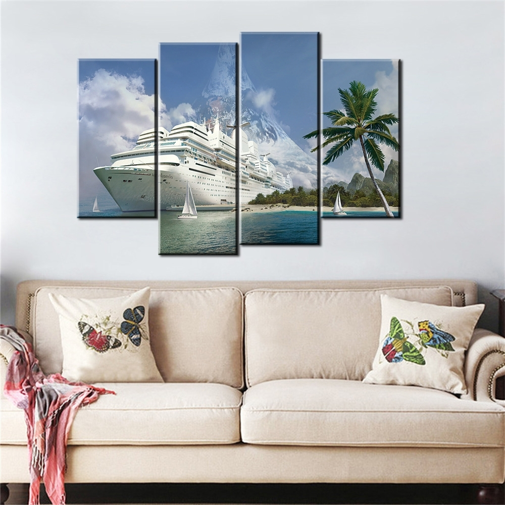 Best And Newest Modular Wall Art Intended For 4 Pieces Boat Canvas Art Landscape Painting Wall Pictures For (View 1 of 15)