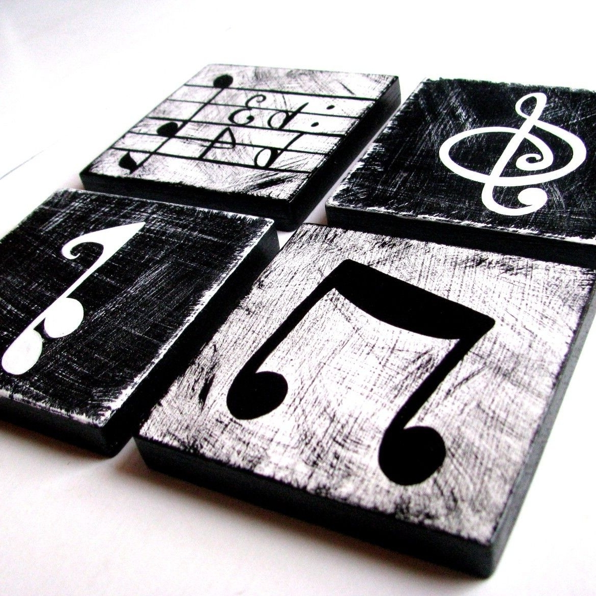 Best And Newest Music Theme Wall Art Pertaining To Music Inspired Black And White Wall Art Tiles Set Of (View 9 of 15)
