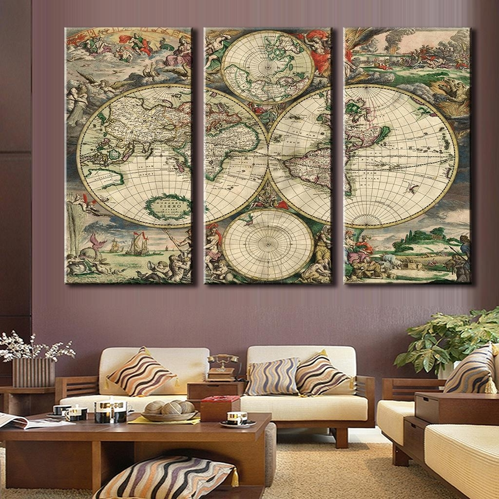 Best And Newest Old World Map Wall Art For 3 Pcs/set Retro Europe Old World Map Canvas Prints Painting (View 2 of 15)