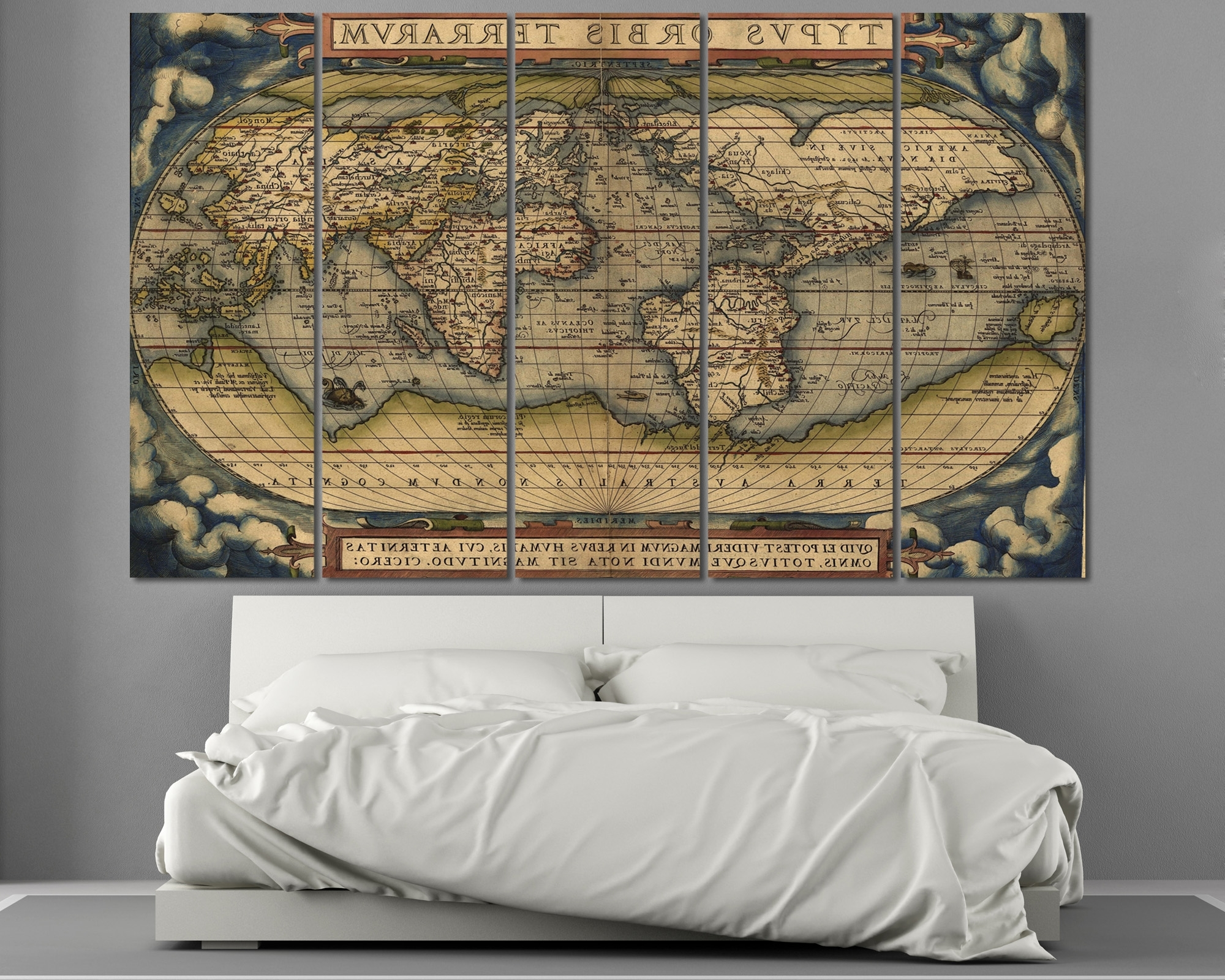 Best And Newest Old World Map Wall Art With Large Vintage World Map 3 Panel Wall Art At Texelprintart (View 2 of 15)