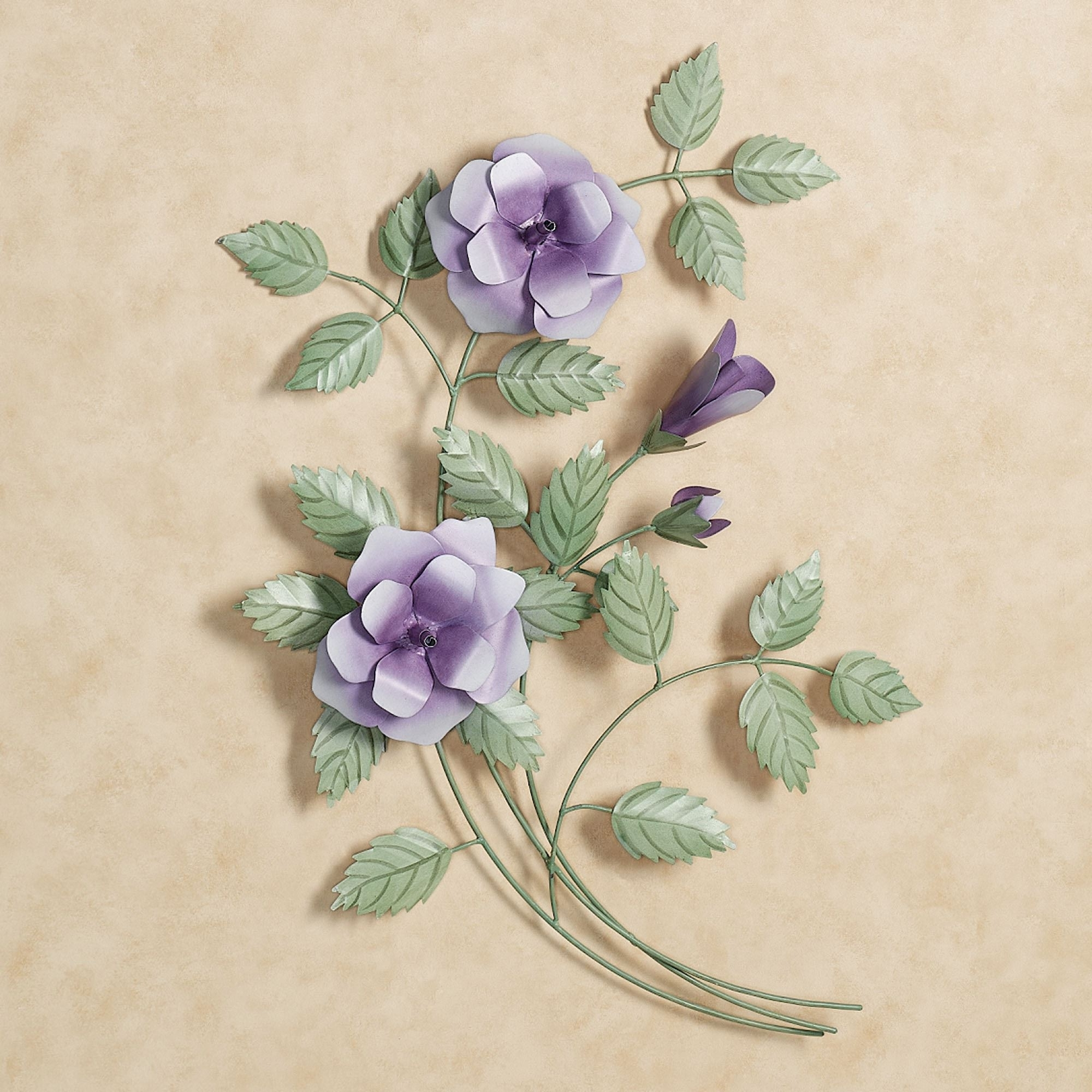 Best And Newest Purple Flower Metal Wall Art With Les Fleurs Purple Rose Spray Metal Wall Art (View 1 of 15)