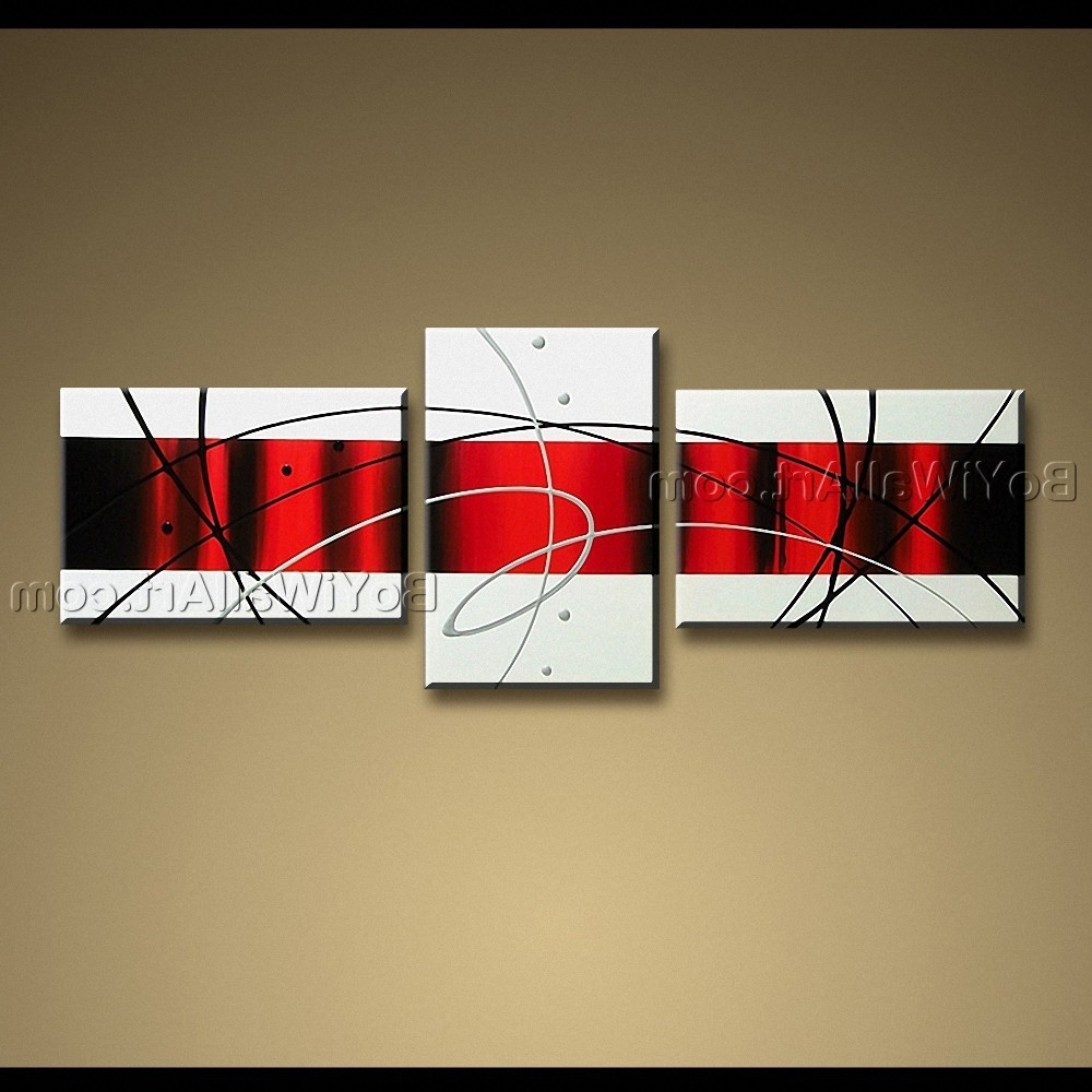 Best And Newest Red And Black Canvas Wall Art Regarding Handmade Painting On Canvas Red White Black Abstract Modern Wall Art (View 3 of 15)