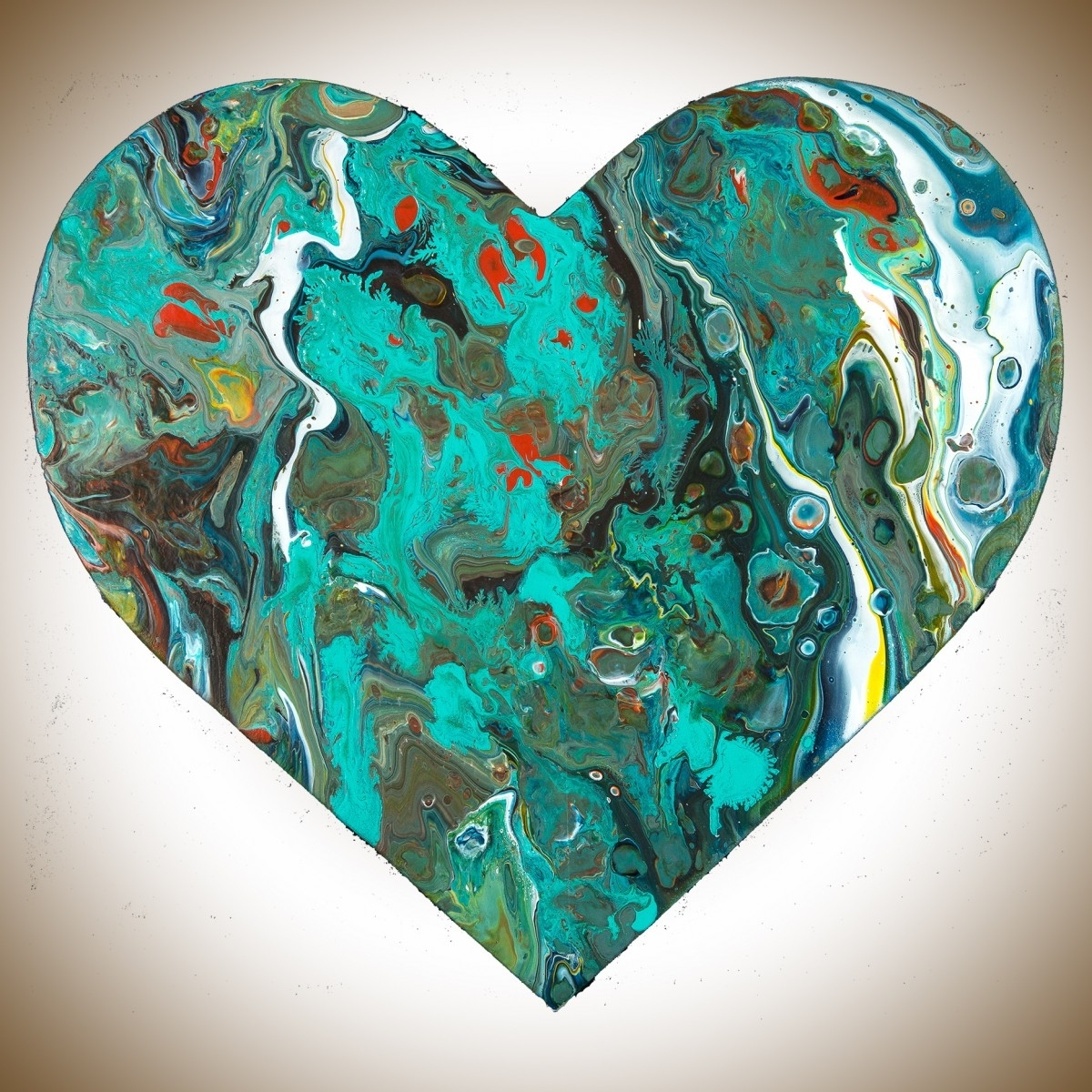 """Best And Newest Red And Turquoise Wall Art With Heart 9Qiqigallery 9""""x9"""" Heart Shaped Painting Wooden Heart (View 2 of 15)"""