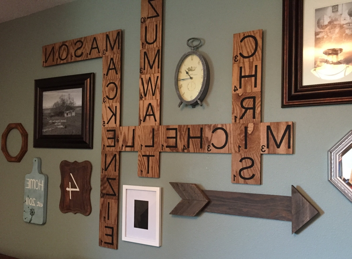 Best And Newest Scrabble Names Wall Art Inside Family Name Scrabble Wall Decortheboardbrunette On Etsy Https (View 3 of 15)