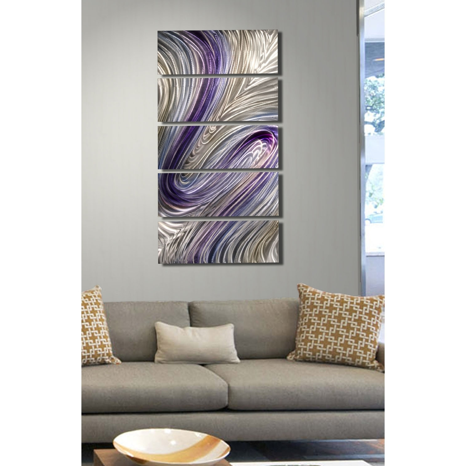 Best And Newest Silver And Gold Wall Art With Reverie – Purple, Silver And Gold Metal Wall Art – 5 Panel Wall (View 4 of 15)