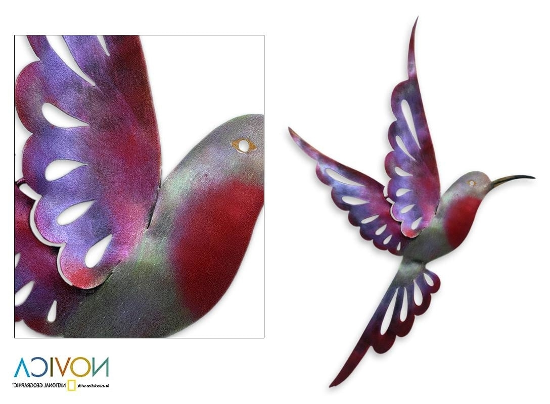 Best And Newest Violet Hummingbird Indoor Outdoor Decorator Accent Red Purple Pertaining To Hummingbird Metal Wall Art (View 3 of 15)