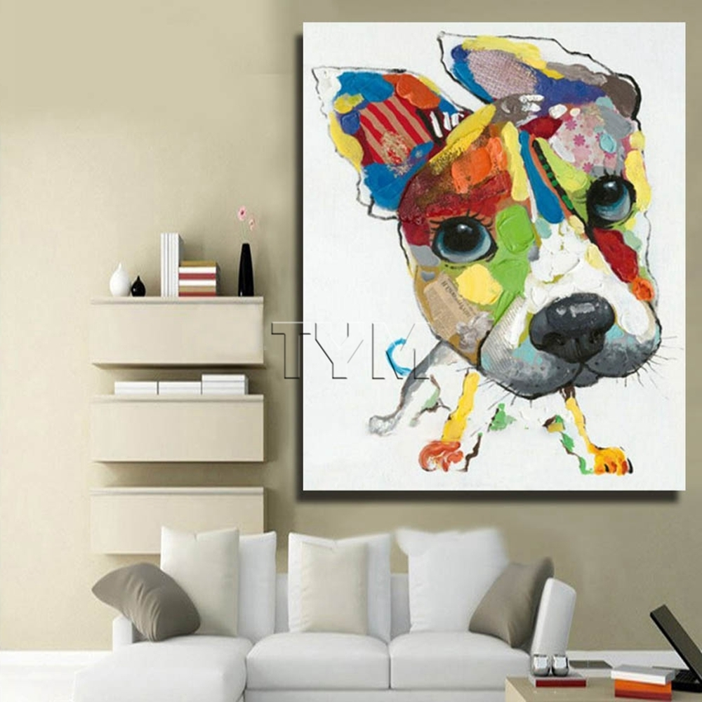 Best And Newest Wall Art Canvas Abstract Dog Painting Home Decor Living Room Decor Inside Abstract Dog Wall Art (View 5 of 15)