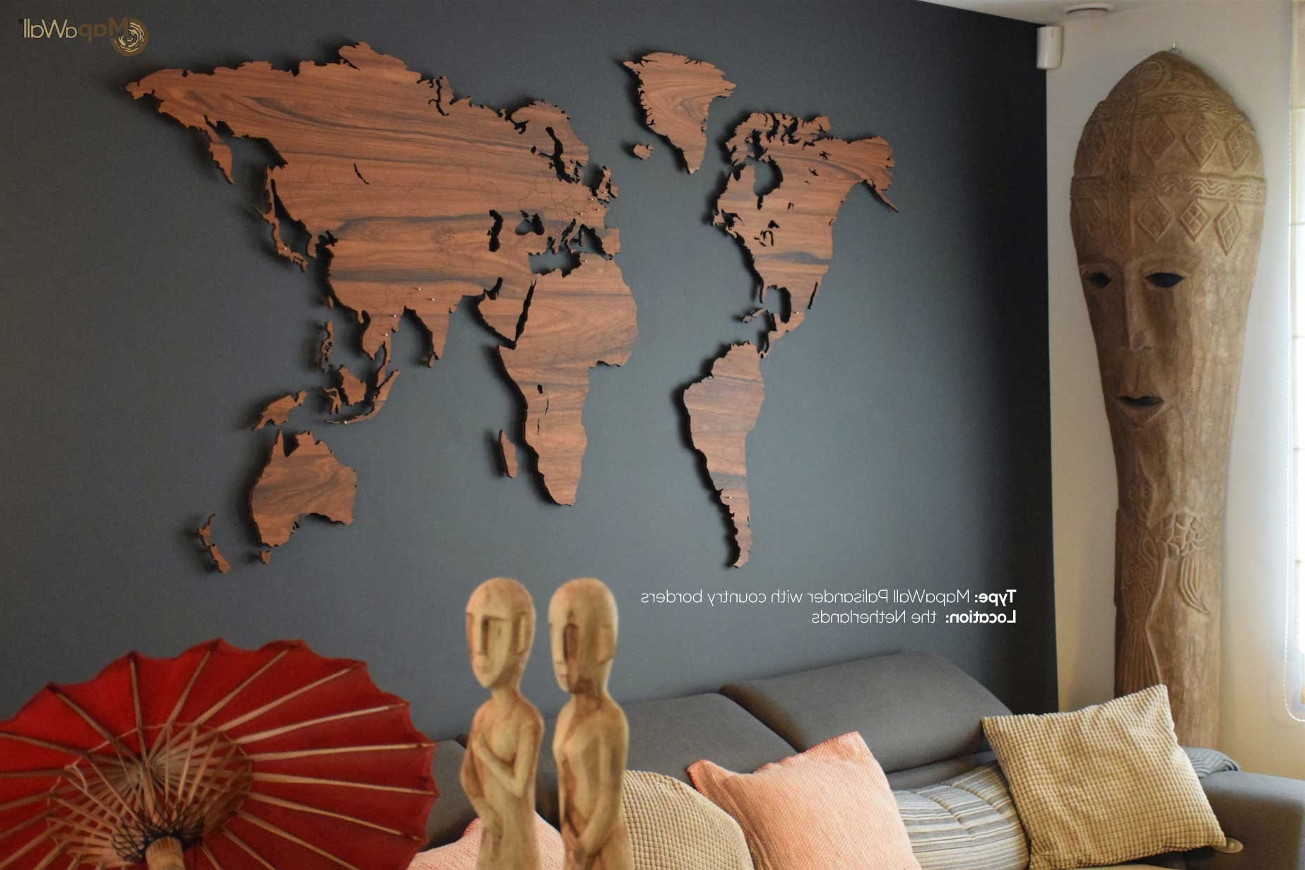 Best And Newest World Map Palisander Country Borders – Mapawall Throughout Wooden World Map Wall Art (View 2 of 15)