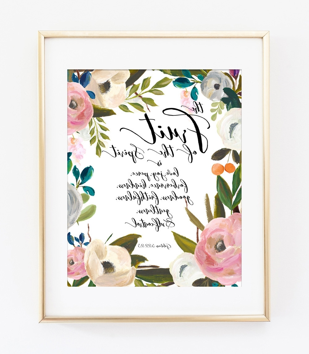 Bible Verses Framed Art Throughout Most Up To Date The Fruit Of The Spirit Bible Verse Art Print In Pink Watercolor (View 6 of 15)