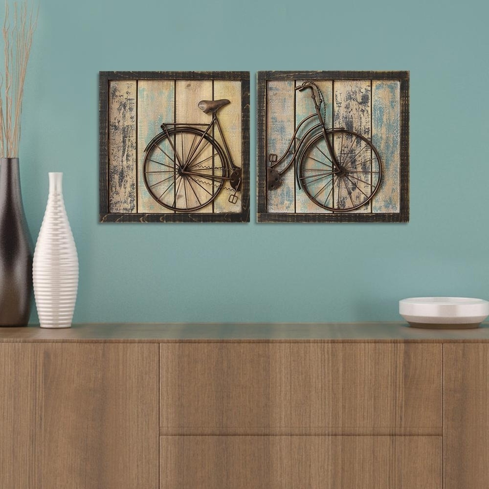 Bicycle Wall Art Decor Regarding Most Popular Rustic Bicycle Wall Decor (set Of 2) S01209 – The Home Depot (View 6 of 15)