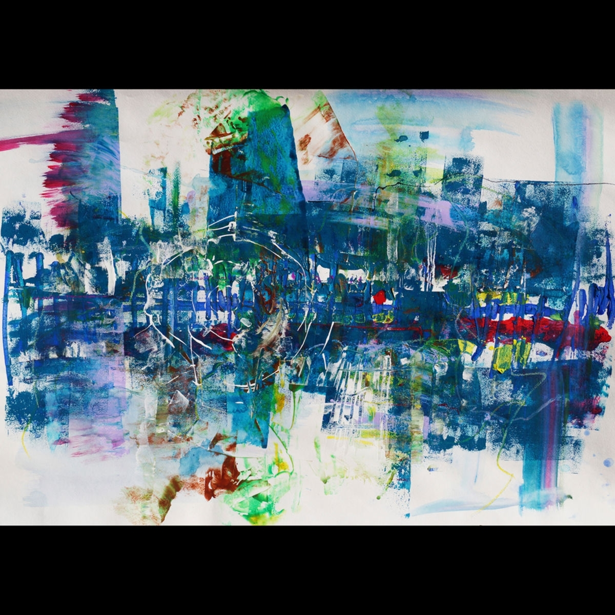 "Big Original Large Wall Art – ""city Blues"" – Modern Abstract Inside Preferred Abstract Expressionism Wall Art (Gallery 4 of 15)"