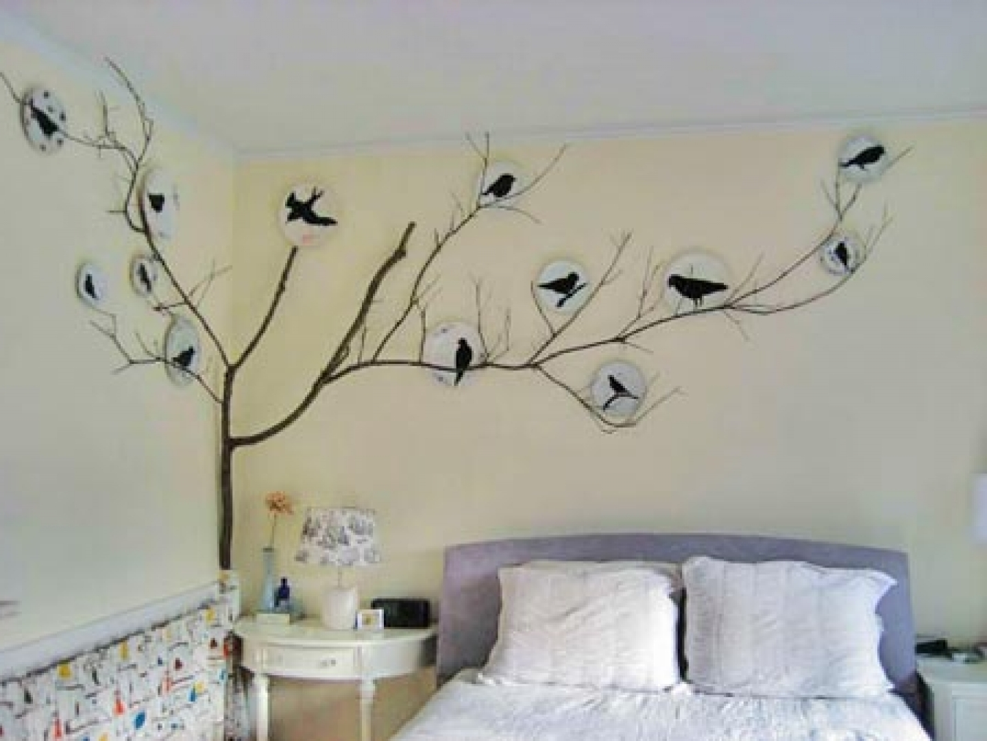 Bird Wall Decor, Bedroom Stencil Wall Art Wall Stencils For With Regard To Well Known Stencil Wall Art (View 3 of 15)