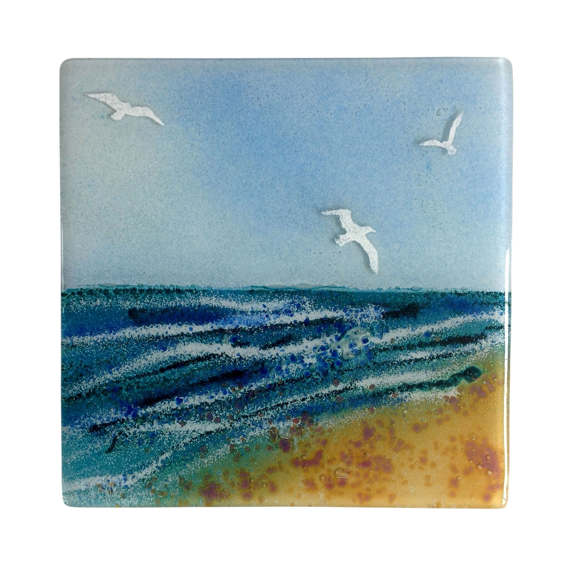 Birdsthe Beach Fused Glass Wall Panel (View 3 of 15)