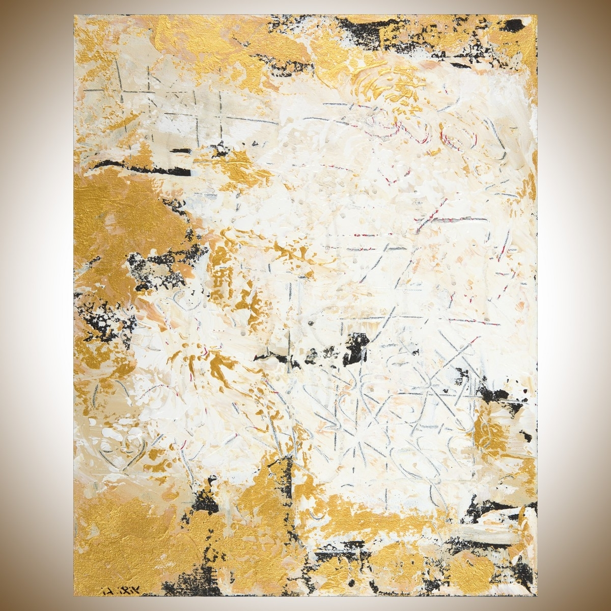 "Black And Gold Abstract Wall Art Inside 2017 Hidden Messagesqiqigallery 16"" X 20"" Abstract Landscape (View 1 of 15)"