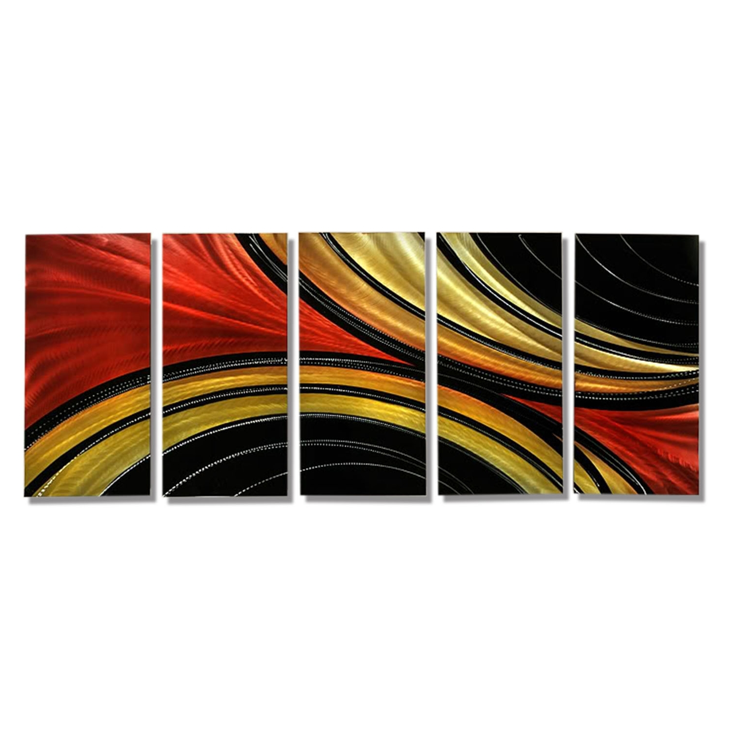 Black And Gold Abstract Wall Art Regarding Preferred Solaris Xl – Massive Metal Abstract Red Black Gold Painting Wall (View 3 of 15)