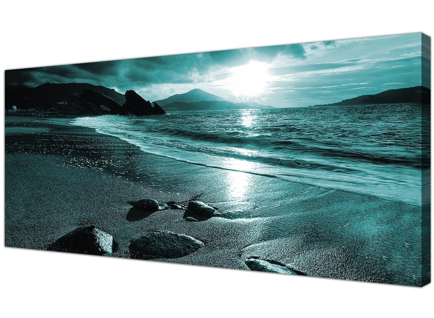 Black And Teal Wall Art Inside Famous Modern Black And White Canvas Wall Art Of A Tropical Ocean Sunset (View 11 of 15)