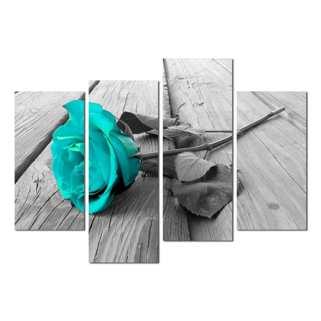 Black And Teal Wall Art With Regard To Newest Amazon: Grepova Art – Black White Floral Flower Teal Modern  (View 6 of 15)
