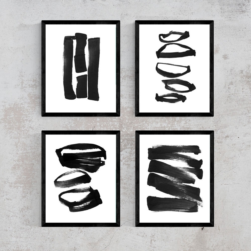 Black And White Abstract Wall Art In Well Known Abstract Art, Set Of 4 Prints, Abstract Black And White Wall Art (View 13 of 15)