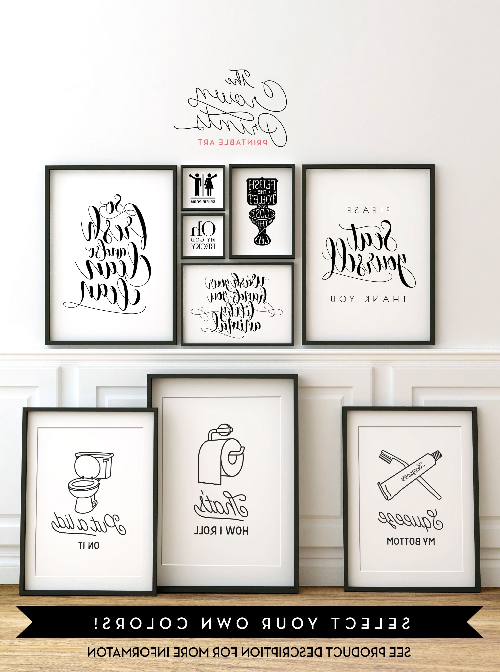 Black And White Bathroom Wall Art In Most Popular Printable Bathroom Wall Art From The Crown Prints On Etsy – Lots (View 3 of 15)