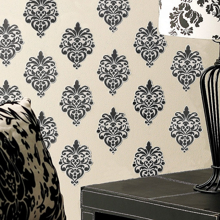 Black And White Damask Wall Art Awesome Amazon Wallies Wall Decals In Preferred Black And White Damask Wall Art (View 1 of 15)