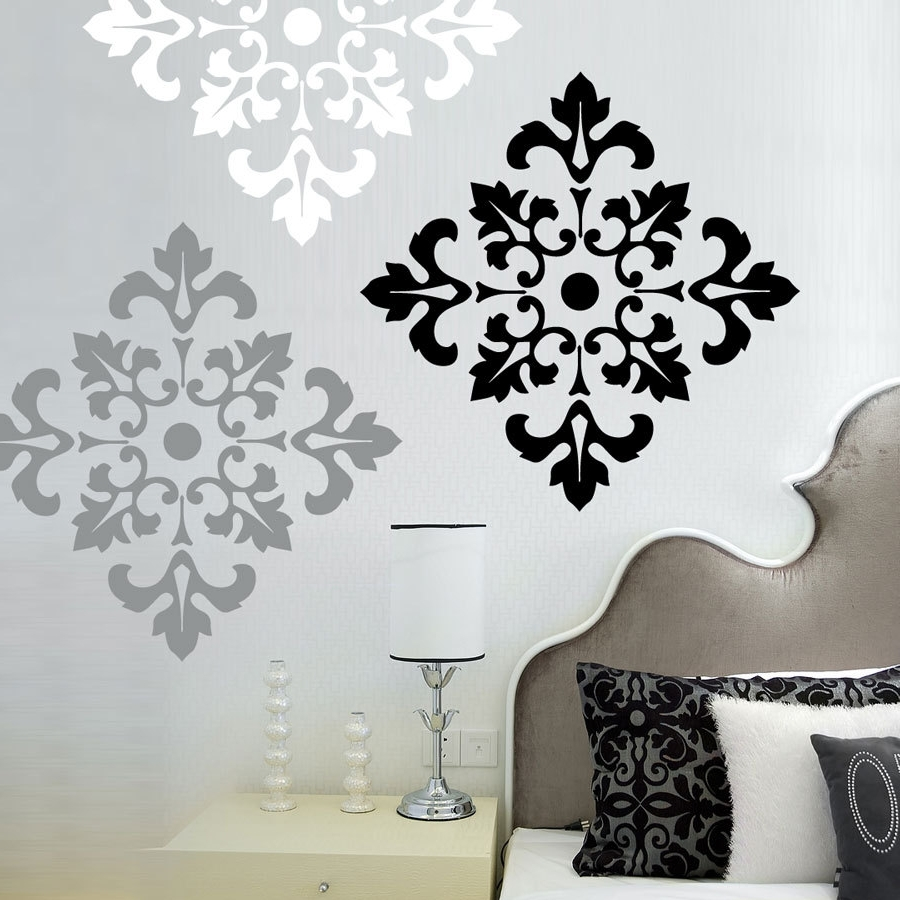 Black And White Damask Wall Art Intended For Popular Damask Pattern – Vinyl Wall Decal – Large Wall Stickers Set Of  (View 2 of 15)